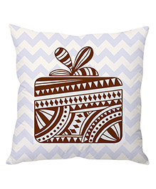 Stybuzz Christmas Chevron Cushion Cover Gift Box Print - Light Purple White