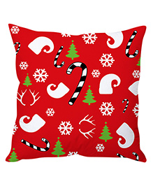 StyBuzz Christmas Print Cushion Cover - Red
