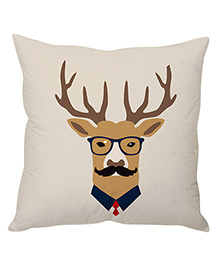 StyBuzz Reindeer With Mustache Christmas Cushion Cover - White