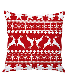 Stybuzz Christmas Cushion Cover Reindeer Print - Red White - 1239826