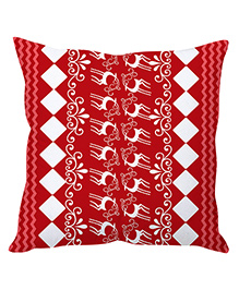 Stybuzz Christmas Cushion Cover Reindeer Print - Red White