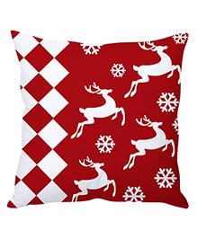 StyBuzz Christmas Reindeer Art Cushion Cover - Red And White