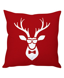 StyBuzz Christmas Reindeer Art Cushion Cover - Red White
