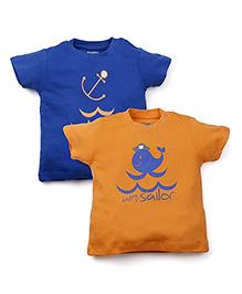 Snuggles Half Sleeves T-Shirt Multi Print Pack of 2 - Orange Blue