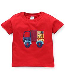 Babyhug Half Sleeves T-Shirt Truck Print - Red
