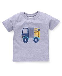 Babyhug Half Sleeves T-Shirt Truck Print - Grey