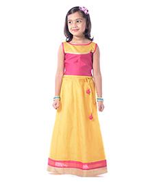 Utsa Boutique Chanderi Silk Lehenga Choli Set - Yellow  Pink & Gold