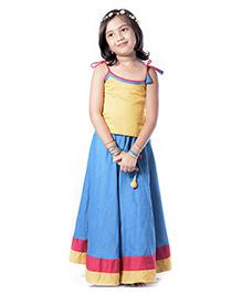 Utsa Boutique Soft Silk Lehenga Choli Set - Yellow Blue & Pink