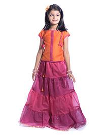 Utsa Boutique Layered Lehenga Set - Orange & Pink