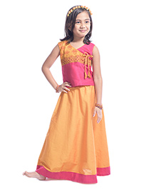 Utsa Boutique Sleeveless Lehenga Set - Yellow & Pink