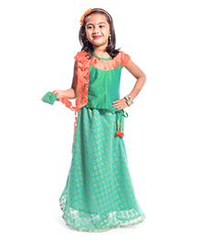Utsa Boutique Stylish Lehenga Choli Set - Green & Orange