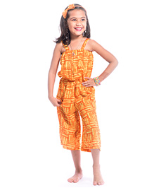 Utsa Boutique Printed Jumpsuit - Yellow & Orange
