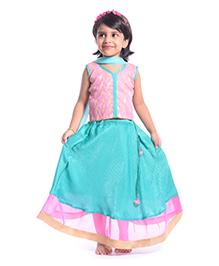 Utsa Boutique Net Brocade Lehenga Set - Pink Blue & Gold