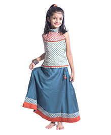 Utsa Boutique Printed Lehenga Choli Set - Blue & Orange