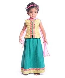 Utsa Boutique Stylish Lehenga Choli Set - Green Yellow & Pink