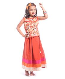 Utsa Boutique Floral Net & Lehenga Set - Beige Orange & Pink