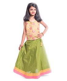 Utsa Boutique Floral Net & Lehenga Set - Beige Green & Pink