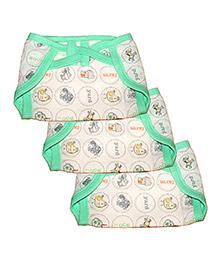 Kadambaby Small Cloth Muslin Nappy Animal Print Set Of 3 - White