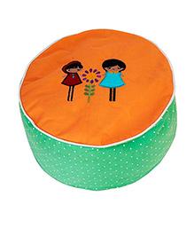 Kadambaby Ottoman Pouf Cover Embroidery - Orange Green