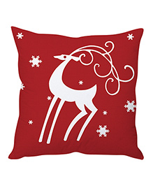 StyBuzz Christmas Cushion Cover - Dark Red & White