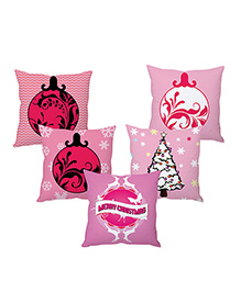Stybuzz Christmas Cushion Cover Set Of 5 - Pink