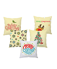 Stybuzz Merry Christmas Cushion Cover Set Of 5 - Yellow White