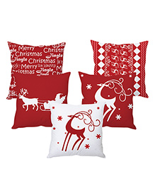 Stybuzz Christmas Cushion Cover Set Of 5 - Red And White
