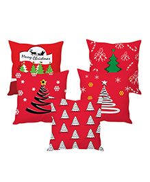 StyBuzz Christmas Cushion Cover Set Of 5 - Red