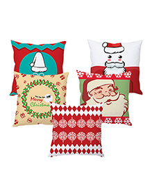 StyBuzz Christmas Cushion Cover Set Of 5 - Multi Color