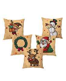 Stybuzz Christmas Penguins Cushion Cover Beige - Set Of 5