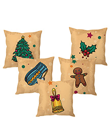 Stybuzz Christmas Cushion Cover Beige - Set Of 5