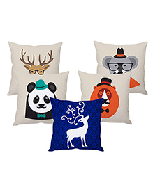 Stybuzz Christmas Animals Design Cushion Cover Blue White - Set Of 5