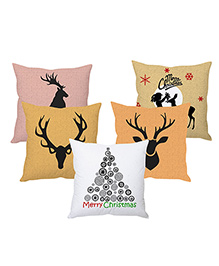 Stybuzz Reindeer Art Cushion Cover Set Of 5 - Multicolor
