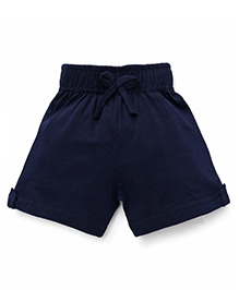 Babyhug Solid Color Shorts Cotton Knitted Shorts - Navy
