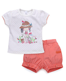 ToffyHouse Short Sleeves T-Shirt And Shorts - Peach White