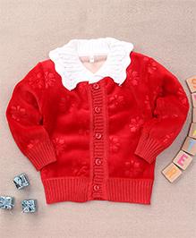 Superfie Velvet Buttoned Sweater - Red
