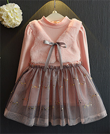 Cherubbaby Winter Dress With Attached Jacket - Peach
