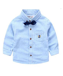 Cherubbaby Formal Shirt With Bow Tie - Blue