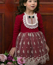 Cherubbaby Pretty Winter Dress - Maroon