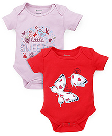 Ohms Printed Body Suit Pack of 2 - Pink Red