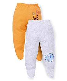 Ohms Prtinted Footed Leggings Pack of 2 - Orange White