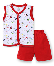 Babyhug Sleeveless Front Open Night Suit Allover Airplane Print - Red