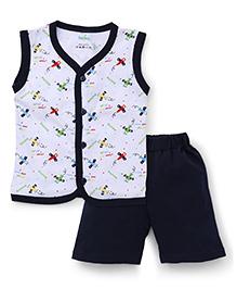 Babyhug Sleeveless Front Open Night Suit Allover Airplane Print - Navy Blue