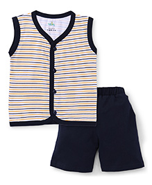 Babyhug Sleeveless Front Open Striped Night Suit - Navy Blue