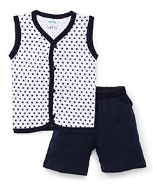 Babyhug Sleeveless Front Open Night Suit Allover Star Print - Navy Blue
