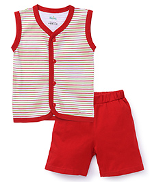 Babyhug Sleeveless Front Open Striped Night Suit - Red