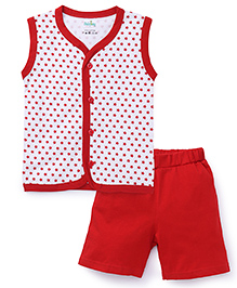 Babyhug Sleeveless Front Open Night Suit Allover Star Print - Red