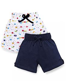 Babyhug Casual Shorts Vehicle Prints - White