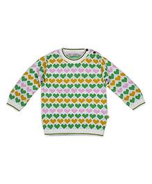 FS Mini Klub Full Sleeves Hearts Pattern Sweater - Multicolor