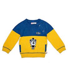 FS Mini Klub Full Sleeves Animal Design Sweater - Blue Yellow
